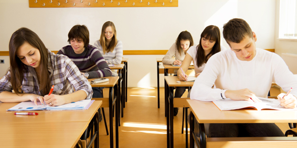 Group of high-school students in a classroom, during lesson.